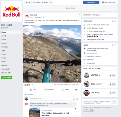 RedBull's facebook page